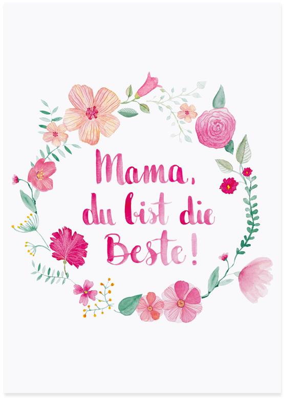 papermint.ch - Postkarte Mama du bist die Beste von